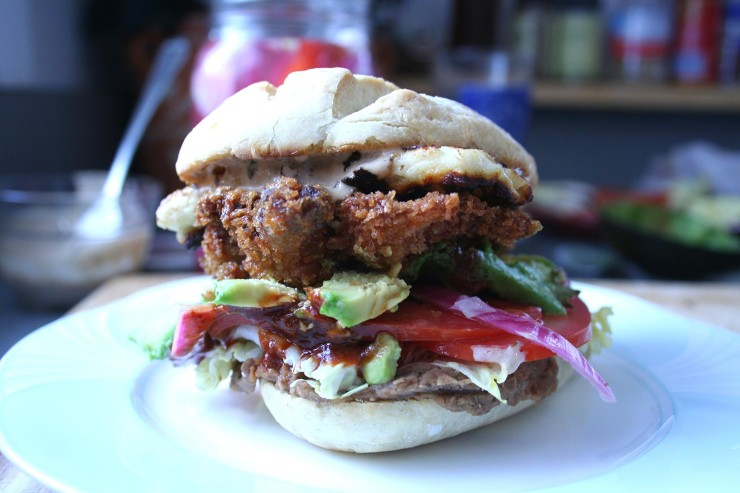 Chicken Fried Carne Asada Torta