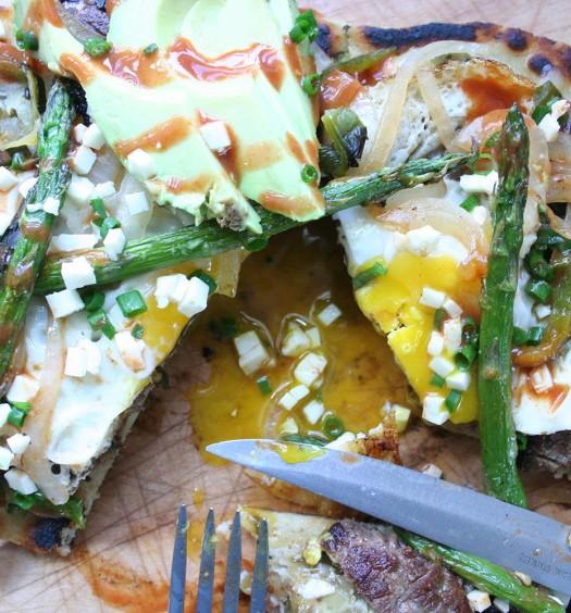 Huarache with Steak, Egg, and Asparagus