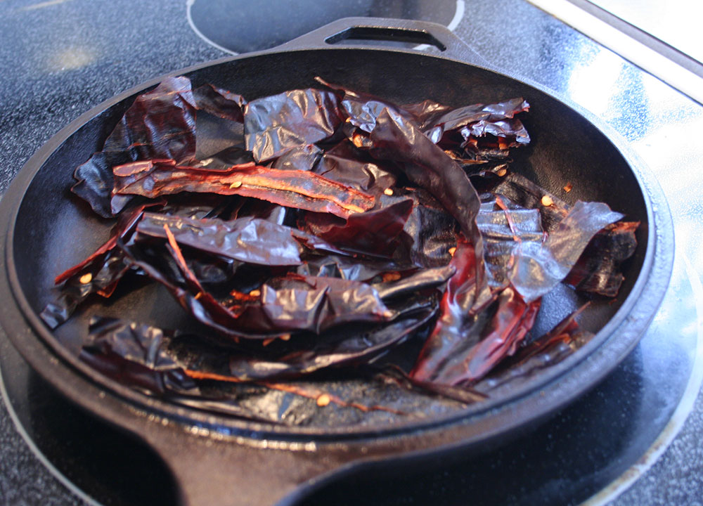 Toasting Guajillo Peppers