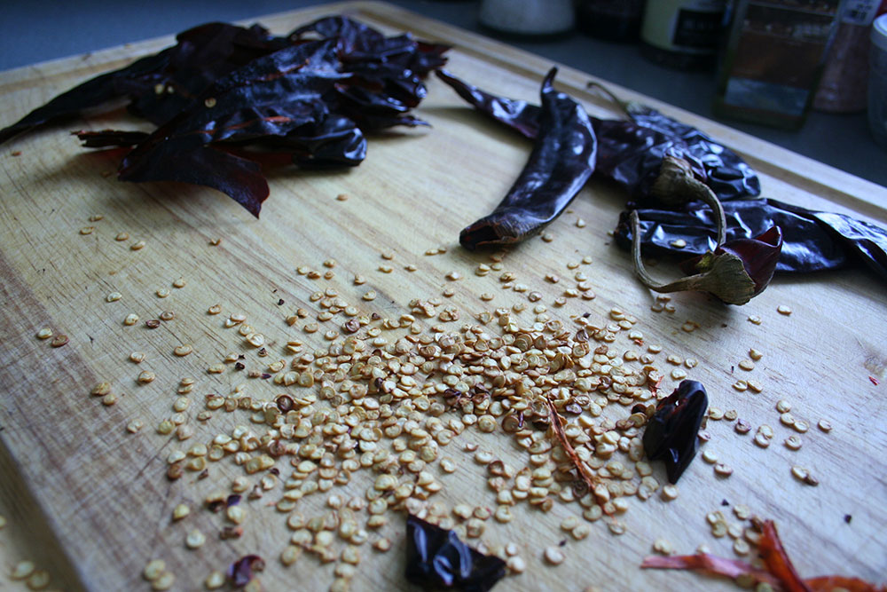 Seeding Guajillo Peppers