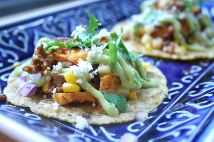 Sweet Potato Chorizo Corn Tacos