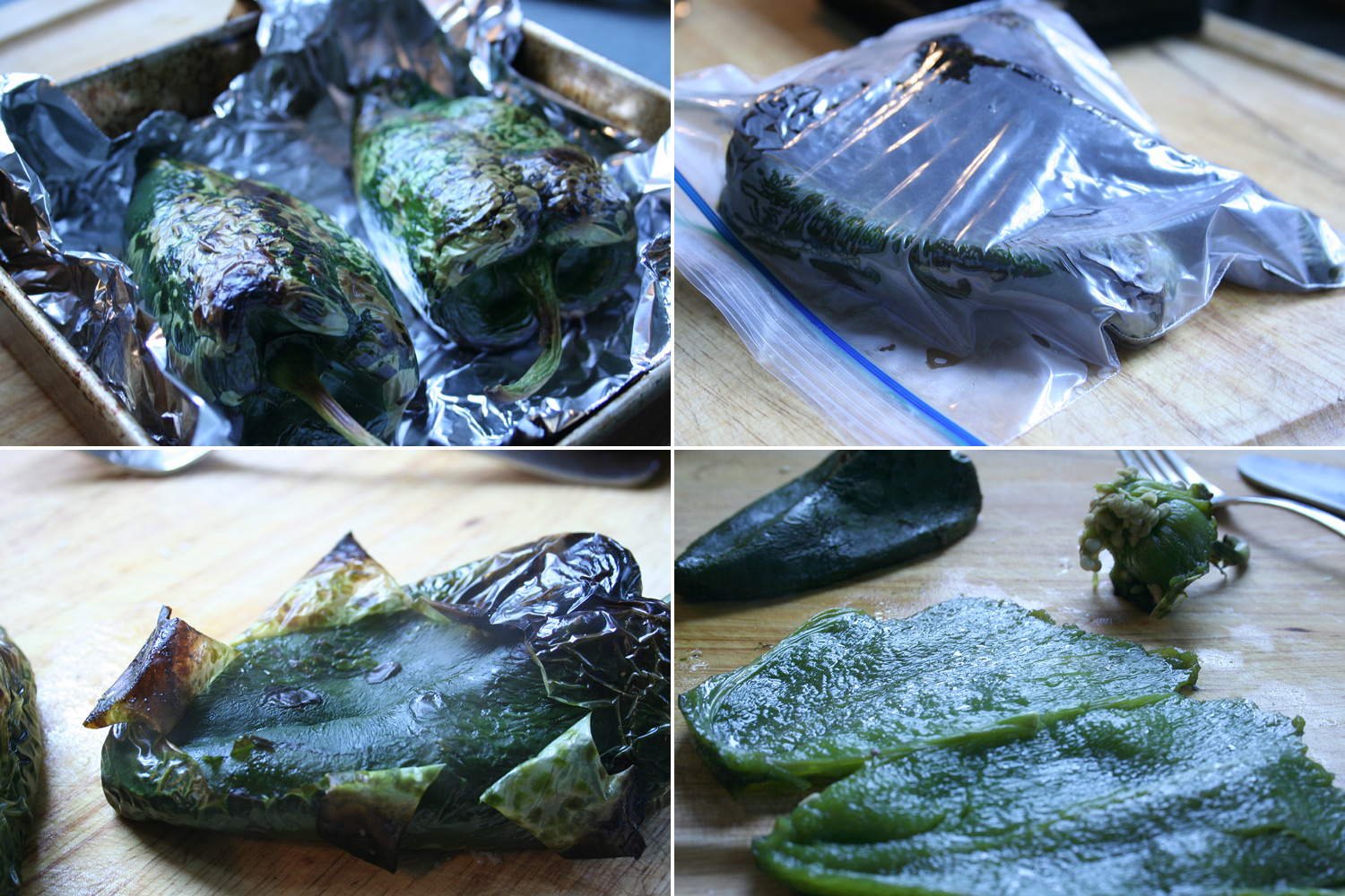 Roasting and Peeling Poblanos