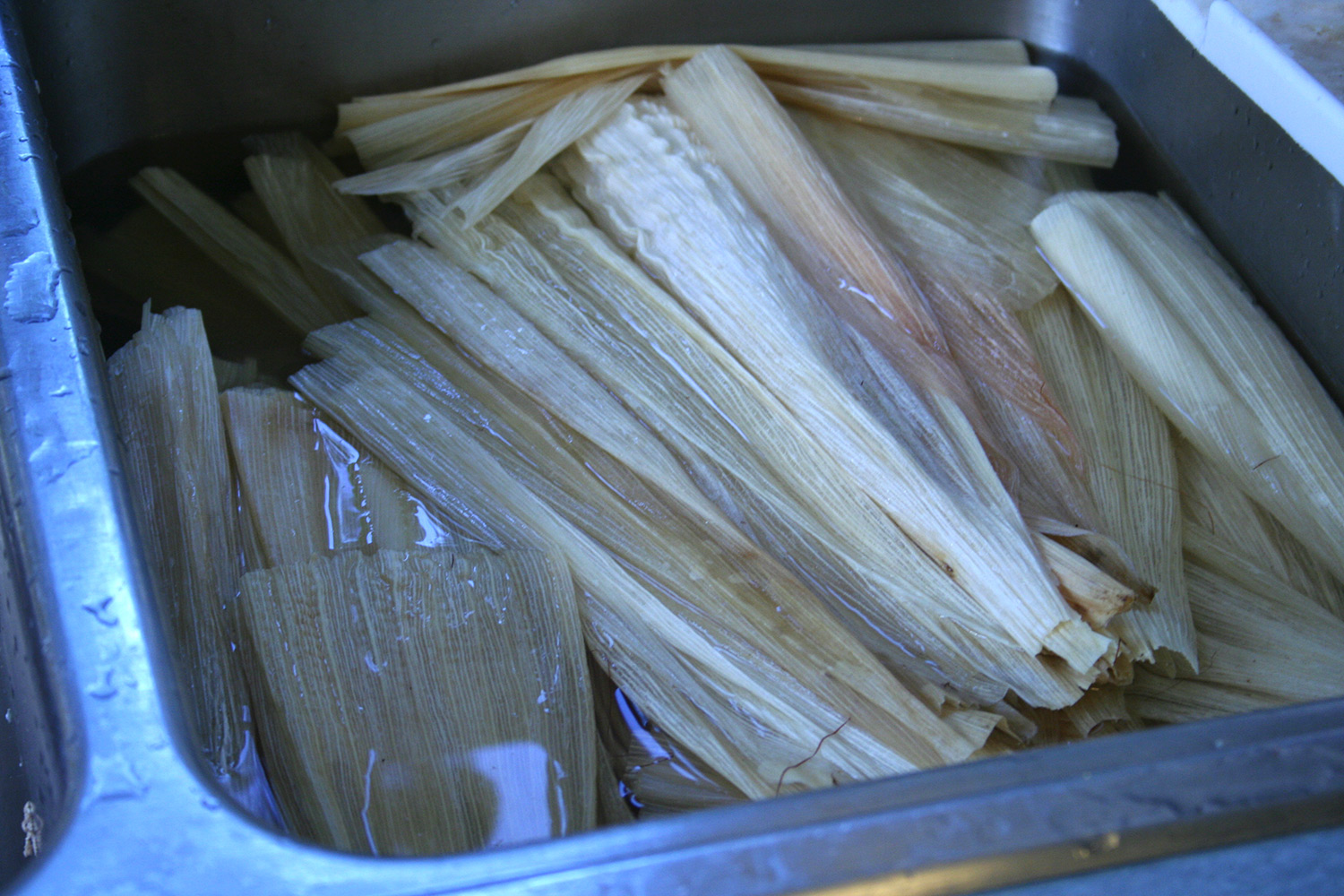 Soaking Corn Husks