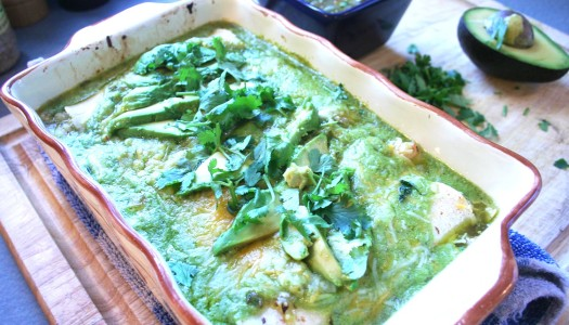 Garlic Shrimp Enchiladas with Poblano Cream Sauce