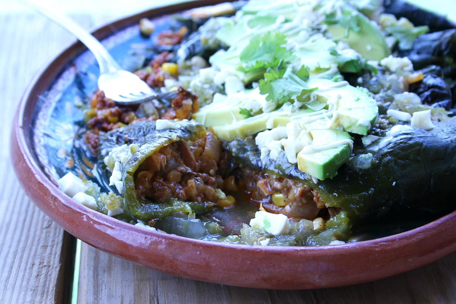 Stuffed Poblanos with Chorizo and Potato