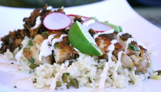 Pan Fried Crispy Chicken and Rice